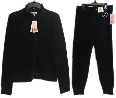 Juicy Couture Micro Terry Pitch Black Tracksuit Set 2-Piece Jacket & Pants New! ()