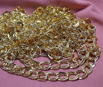 9 FEET-DOUBLE LINK SHINY GOLD CHARM BRACELET CHAIN LOT-PART TEXTURED-10MM LINKS