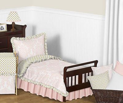 Sweet Jojo Luxury Gold Polka Dots Pink and White Damask Toddler Girl Bedding Set - Pink And Gold Polka Dots