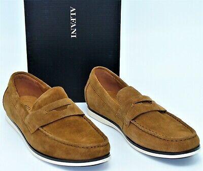 Alfani Sawyer (M119) Slip on Penny Loafers Shoes Moc Toe Tan Suede Mens SZ 9.5