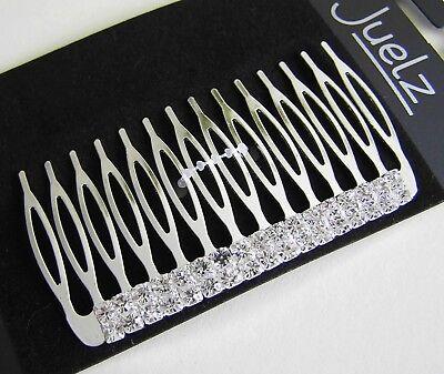1 SILVERTONE & CLEAR CRYSTALS HAIR COMB WOMENS ACCESSORY CLIP GRIP CLAMP SLIDE