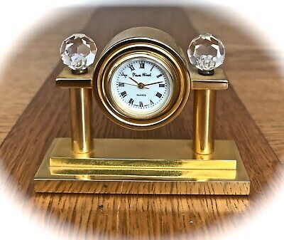 An Ornate Miniature  Brass Mantle Clock (french Style) with Quartz movement