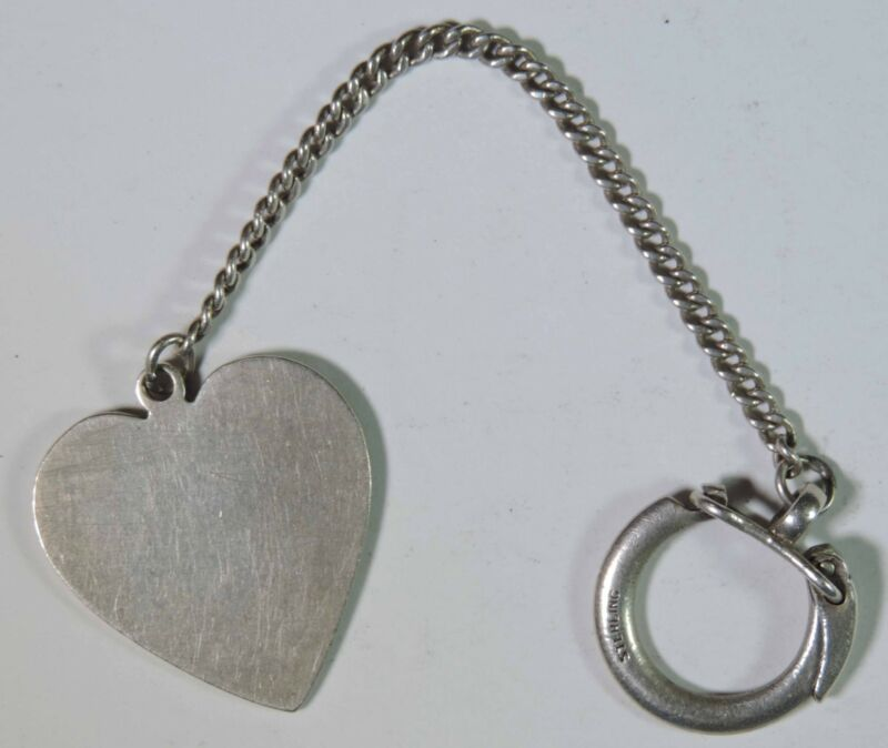 Vintage Tiffany & Co Makers Sterling Silver 925 Heart Design Key Chain