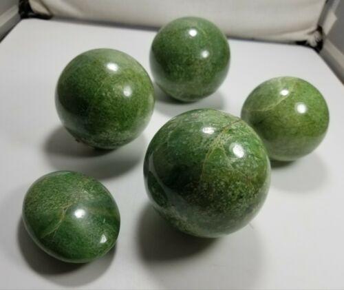 Deep Green natural Rare Hydrogrossular Garnet spheres 2 KG Lot.Total 4 pcs.