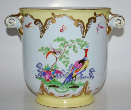 """Large Chelsea House Exotic Birds Handled Cachepot Vase 9"""" High x 10"""" Wide"""