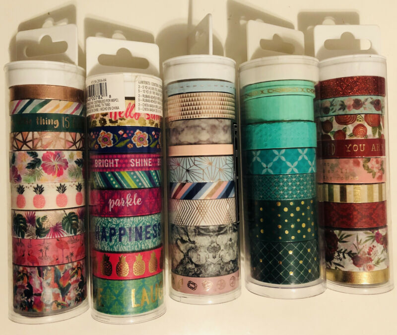 Lot Of 5 Tubes - Washi Tape Tubes (42 Rolls)