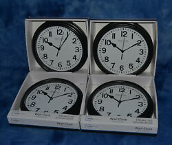 Lot of 4 Mainstays Sterling and Noble 8.78 Analog Display Wall Clocks - Black