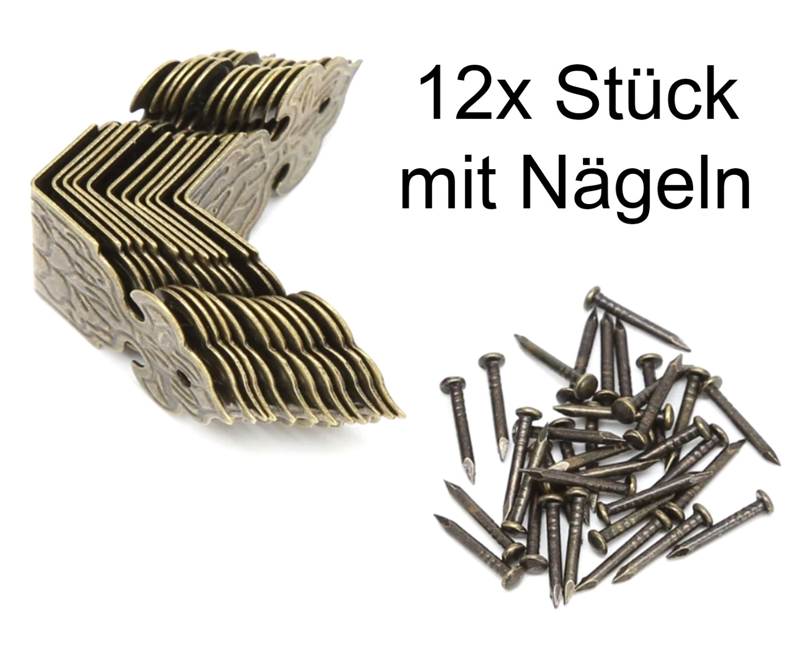 12x Metall Schutzecken Kantenschutz Ornament Möbel Ecken Restaurierungsbedarf