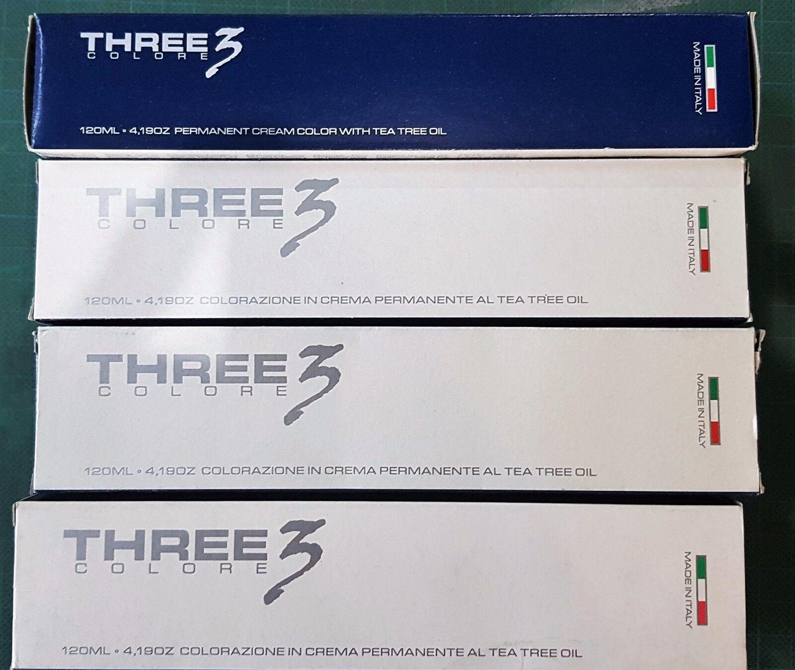 1pz THREE 3 COLORE 120ML 4.032 CIOCCOLATO SCURO  PERMANENTE TEA TREE OIL