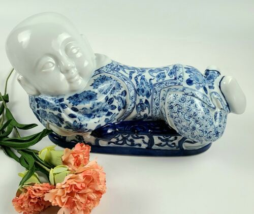 Vintage Hand-painted Chinese Sleeping Baby Boy - Figural Pillow -Porcelain