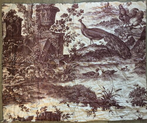 Antique Toile Du Jouy Quilted Fabric Oberkampf Late 1700