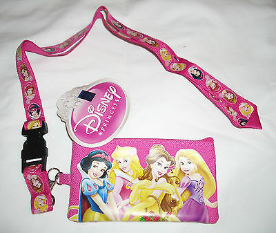 Hot Pink Disney Princesses Lanyard Zipper Wallet Fast Pass ID Pouch Badge Holder