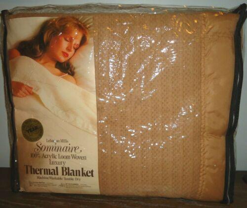 NEW Vintage Lebanon Mills Loom Woven 100% Acrylic Thermal Blanket Queen Lt Brown