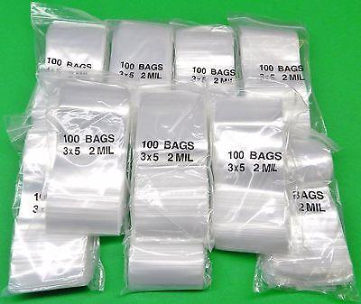 1000 3x5 Zip Seal Lock Bags Reclosable 2 Mil Clear Poly Baggies 3x 5 Zip Slide