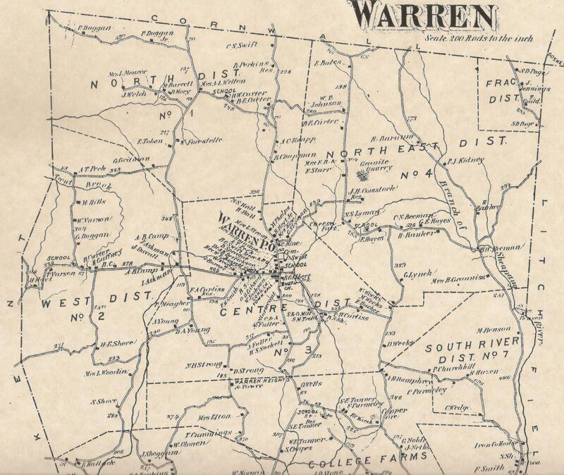 Warren Milton Lake Waramaug Shepaug CT 1874 Map with Homeowners Names Shown