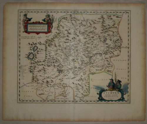 1737 Genuine Antique map China Province, Suchuen, exquisite. by D