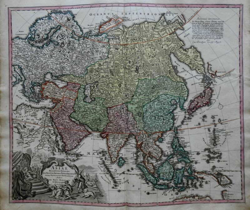 Asia Continent Ottoman Empire Arabia India China c.1750 Homann decorative map