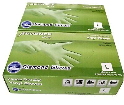 200 Pcs Diamond Gloves Clear Powder Free Soft Vinyl Gloves (LARGE) ADVANCE IF48 200+ Pcs Diamond