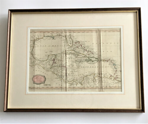 Antique Hand Coloured Map of the 'West Indies' E. Kinnersly, Bungay, Suffolk.