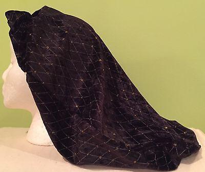 LADIES PEASANT SNOOD RENAISSANCE MEDIEVAL COSTUME HAT-BLACK DIAMOND PANNE-NEW](Peasant Lady Costume)