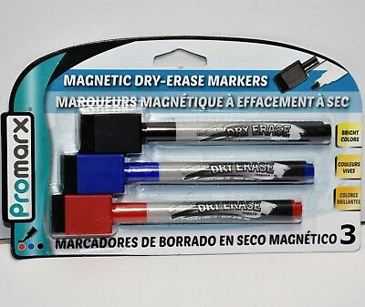 New Dry Erase Markers Magnetic Eraser Top 3 Color Black Blue Red Nip