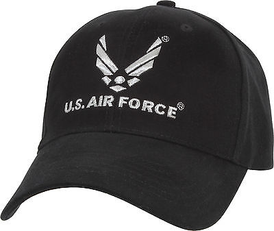 Black Official US Air Force USAF Logo Deluxe Low Profile Adjustable Cap