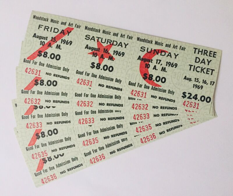 5 Original Woodstck Tickets 1969