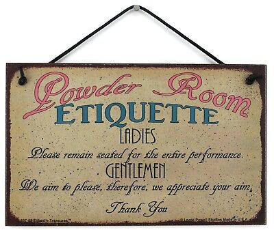Powder Room Etiquette 5x8 Sign Bathroom Ladies Men Decor Guest House Accessories](Bathroom Etiquette)