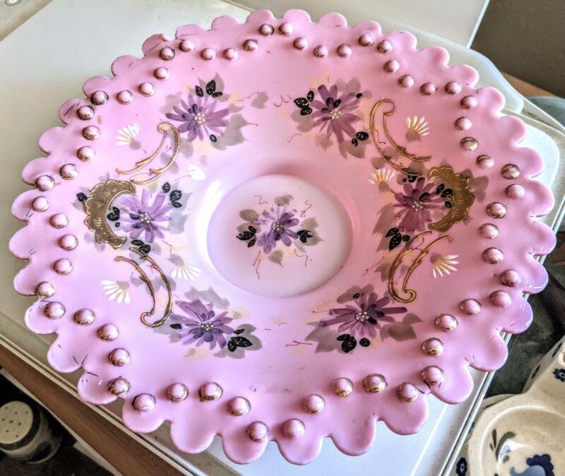 Antique Mt Washington Thomas Webb Satin Glass Brides Bowl Raised Enamel