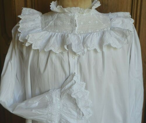 Spectacular French Nap III/Victorian lace frill hand made lawn blouse