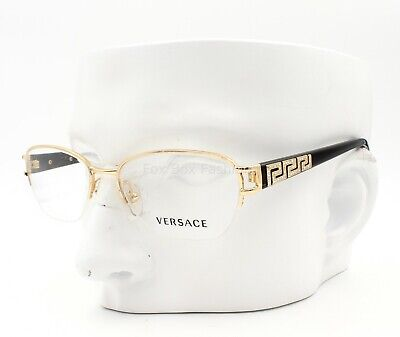 VERSACE MOD 1215B 1002 BIJOU Semi Rimless Eyeglasses Glasses Gold 53mm w/case
