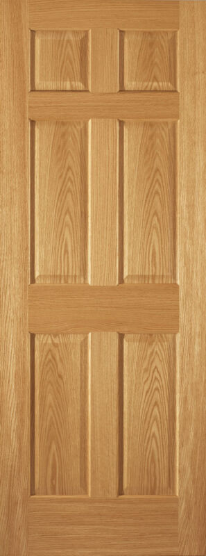 6 Panel Raised Red Oak Traditional Stain Grade Solid Core Interior Doors - Slabs