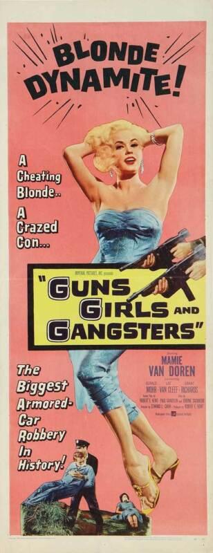 GUNS GIRLS AND GANGSTERS Movie POSTER 14x36 Insert Mamie Van Doren Gerald Mohr