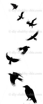 Furniture Slide Decal Vintage Image Transfer Black Crows Chic Antique DIY Making ()