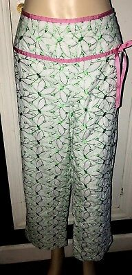 BAMBOO TRADERS WHITE & GREEN FLOWERED CROPPED PANTS CAPRIS PINK RIBBON TRIM 14 Bamboo Capri Hose