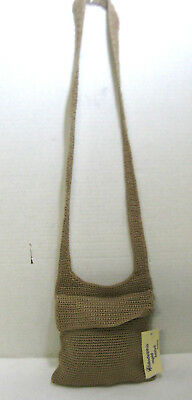 Natural Colored Crochet Knit Mini Messenger Bag Zip Close W/Flap Cross Body Bag (Knit Messenger Bag)
