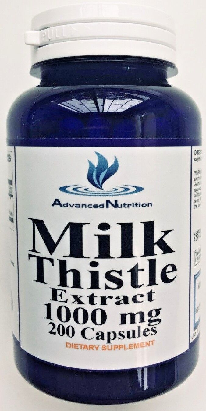 Milk Thistle 1000mg. Silymarin Herb 200 Caps Repair Cleanse