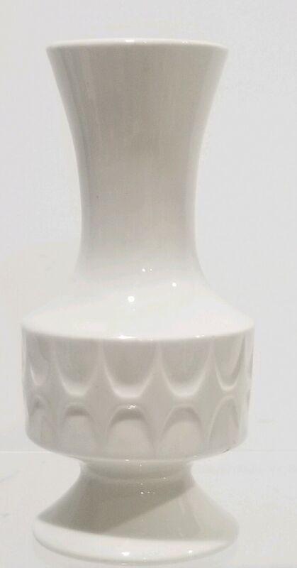 """Vtg Porcelain White Art Vase MCM 6"""" unmarked Danish Modern"""