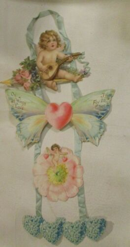 Antique 4 Piece Hanging Valentine On of Wings Love I