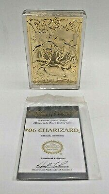 Pokemon 1999 Nintendo 24k Gold Plated Charizard Metal Card w Case + COA U1