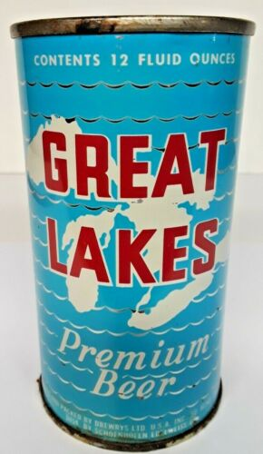 GREAT LAKES BEER  FLAT TOP BEER CAN Drewrys Brewing Co.