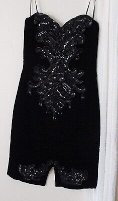 S Vintage CDC Dress beaded strapless velvet sequin USA vintage prom fringe
