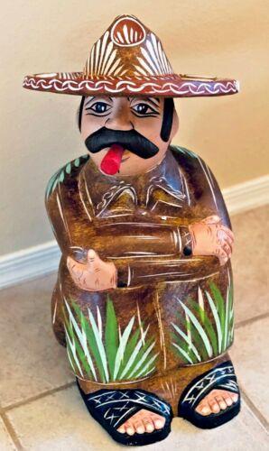 "Mexican Pottery Man Sombrero Clay XL Pancho Talavera Style Florals Folk Art 20"""