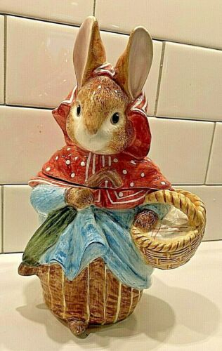 Vintage 1996 Beatrix Potter Enesco Rabbit Small Cookie Jar 9 Inch Mint BIN