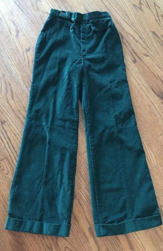 70s Green corduroy bell bottom trousers pants wide leg vintage womens High Waist