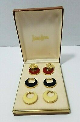 NEIMAN MARCUS Lion Head Multiple Color NOS Vintage Costume Jewelry Earrings BOX - Box Head Costume
