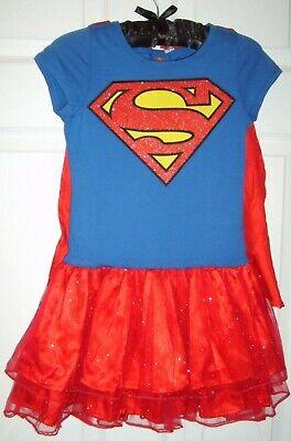 Superman Girl Costumes (GIRL CHILD SUPERGIRL SUPERMAN GLITTER TUTU DRESS COSTUME MEDIUM 8-9 COSPLAY)