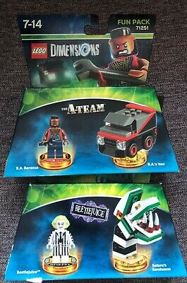 Lego Dimensions Beetlejuice and A-Team 71349 and 71251 Fun packs PS4 Xbox