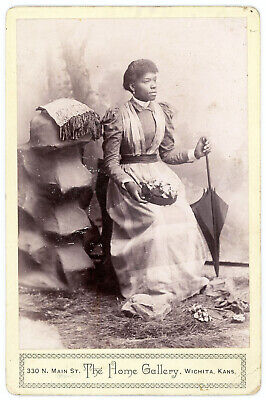 BLACK WOMAN PARASOL HAT AFRICAN AMERICAN CABINET CARD PHOTO WICHITA KANSAS