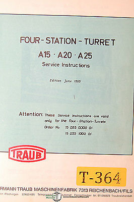 Traub A15 A20 A25 Turret Mill Four Station Service Manual 1965